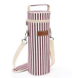 حقيبة نبيذ فاخرة خارجية تحتوي على زجاجة نبيذ معبأة حامل حقيبة يد مع شريط كتف قابل للضبط