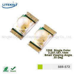 1206 SMD LED Gelb Grün Convex Cup Form kleine Anzeige Winkel 35 Grad mit RoHS-zugelassener China Expert Manufaktur