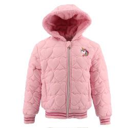아이 아기 유아 소녀를 위한 자수 분홍색 스포츠용 잠바 모피 겨울 형식 아이들 재킷 Hoodie 폭격기 옷을%s 가진 가져오기 고품질 제조 주문 외투