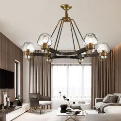 Amerikanischer All-Bronze Weinlese-Dekoration-Gaststätte-Leuchter-Glasfarbton-Anhänger-Licht