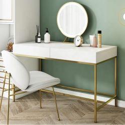 침실 광택지 화이트 나무 침대 침대 베니티 메이크업 테이블 드레싱 테이블