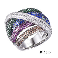 Pietre colorate in argento sterling 925 con anello CZ Line