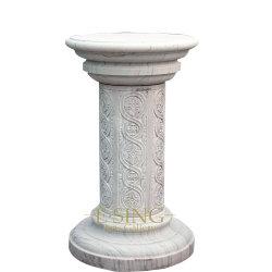 الديكور من الرخام الأبيض الجولة تصميم العمود الروماني للبيع