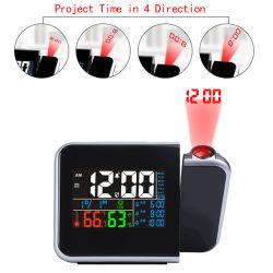 La proyección digital LED de colores Reloj Despertador con humedad termómetro