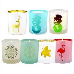 Kundenspezifischer Großhandel nettes Bild Frosted Glas Kerze Glas mit Deckel Für die Kerzenherstellung