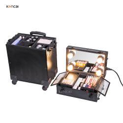 Trolley de aluminio profesional caso tren artista viajes Caja de maquillaje con luz y espejo de maquillaje proveedor directo de la vanidad de los casos
