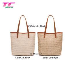A nova capacidade de grande estilo Boho Palha Mala a tiracolo Praia simples sacola de embraiagem bolsa com alça de couro