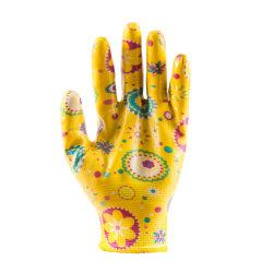 13G de fil de nylon polyester enduit à base de nitrile sur Palm Jardin de fleurs d'impression de la sécurité des gants de travail