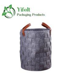 Dobrável e bandeja de vestuário de feltro cesto de armazenamento de dados, Armazenamento de brinquedos a cesta com alça de couro