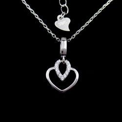 Collana a forma di del regalo di compleanno del cuore di pietra della CZ di modo con monili d'argento puri