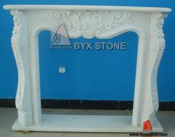 Белое Marble Stone Fireplace с Flower Carving для крытого Decoration