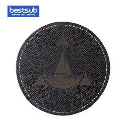 El grabado Bestsub cuero pu taza redonda Coaster (negro)