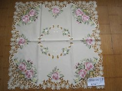 Rose Design Embroidery Square Table Clothes 2179