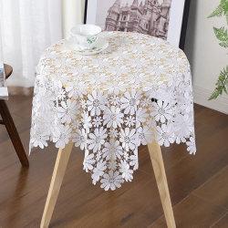 ديكور منزلي حديث أبيض زهري بسيط مائدة مستديرة مربع لالآيس الغطاء