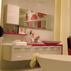 Oppein murale Armoire de couleur rose Salle de bains moderne (OP12-P17-186)
