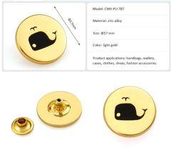 علامة تجارية مشهورة ذهبية خفيفة تحمل الاسم علامة معدنية مستديرة الملابس وحقيبة اليد