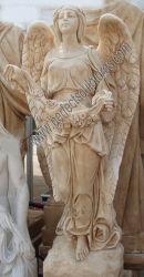 Hand geschnitztes Marmorgranit-Friedhof-Statue-Erinnerungsengels-Denkmal für Kirchhof-Skulptur (SY-X1245)