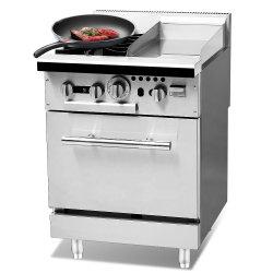 Acciaio inossidabile della stufa di gas con il POT caldo del basamento e griglia del BBQ che cucina la stufa dell'acciaio inossidabile