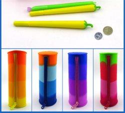 Comercio al por mayor forma redonda de coloridos diseños de fondo de la bolsa de almacenamiento de cremallera funda pen lápiz goma suave de silicona Caso