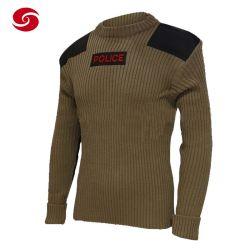 경찰 경비대 원형 목 모직 스웨터 - 자수 로고