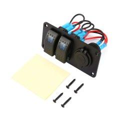 2 piste Voiture Bateau Marine interrupteur à bascule de LED à 5 broches disjoncteur panneau 3.1A Deux ports USB du chargeur de Socket Circuit étanche