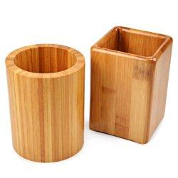 2 Pack Bamboo Pen & Porte-crayon, de l'organiseur de bureau Accessoires de bureau, crayon, stylo de porte-gobelet Stand d'organiseur de bureau (ronds et carrés)