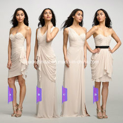 Robes Noite Chiffon bege curto tempo Bridesmaid Dress Y103