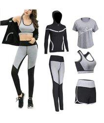 De la mujer entrenamiento correr Fitness Yoga Pantalones Traje de chaqueta Camiseta Bra cortos