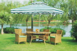 Pátio com jardim de vime Mobiliário de exterior cadeira e mesa BG-011
