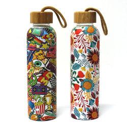 Gimnasio de Deportes de agua de cristal reciclable funda de protección del vaso de agua potable sin BPA breve taza de agua