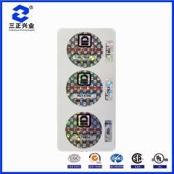 Firmenzeichen Custom-DesignedDie-Cutting Company mit Laser-Seriennummer-Aufkleber