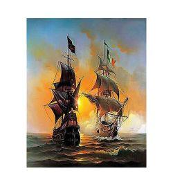 Chenistory pintar por números de la imagen de aceite de barcos de guerra el lienzo sin bastidor para venta al por mayor