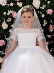 Serapilheira de manga curta Flower Girl Dreess para casamento Apliques Organza Branco Prom vestido da festa de casamento