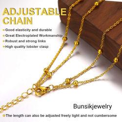 La moda de joyería personalizada18K Collar chapado en oro y joyas de acero inoxidable de la cadena de Cordón de la cruz