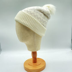 Winter warm zacht twee lagen Wit Jacquard Sneeuwpatroon Kerstmis Gebreide muts met POM POM