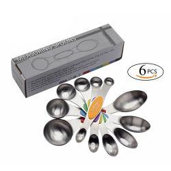 L'abitudine doppio lungo della maniglia del cucchiaino da tè da 5 ml ha parteggiato due di dosatore magnetici capi dell'acciaio inossidabile impostati