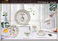 Gepersonaliseerde Kerst Dinnerware Set Collectie Nieuw Bone China Servies