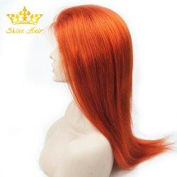 Commerce de gros Hot Sale Nouveau Style Transparent Full Lace Wig avec la couleur orange droit
