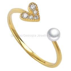 925 Silver 14K or 18K forme de coeur anneau avec Pearl Mode bijoux