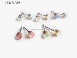 Einfache Macrame-Ohrringerhinestone-Greifer-Kettemacrame-runde asymetrische Stift-Ohrring-Steinpfosten-Ohrring-Cup-Pfosten-Ohrring