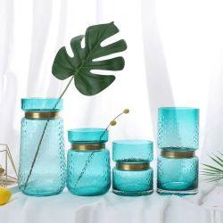 Haut Grade Handblown Pigment Vase Vase en verre avec anneau en métal