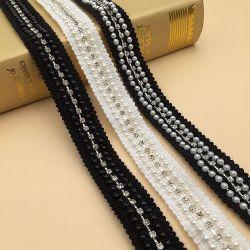 Нанесите валик Pearl оформление саржа полосы ленты Rhinestone цепь лента кузова для одежды