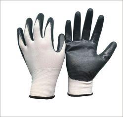 13のゲージナイロン継ぎ目が無いはさみ金のニトリルのやしによって塗られる労働の産業作業手袋