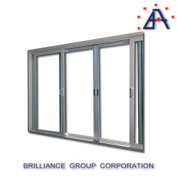 二重ガラスが付いているアルミニウムスタッキングのドアかアルミニウム引き戸