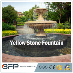 Roter/gelber Marmor geschnitzter Steinwasser-Brunnen für Garten Surroudings Dekoration-untere Marmoraluminiumpanels