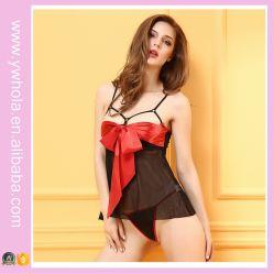 Lingerie de boneca sexy de Natal vermelho mostrando lingerie erótica de mamilo