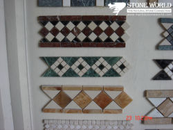 Decorationのための暗いEmperador Mix Cream Marfil Marble Border Mosaic