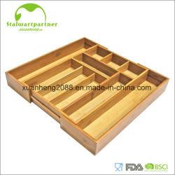 Bandeja de bambu expansível do armazenamento da cutelaria com bloco da faca