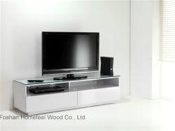 Eenvoudige houten TV-standaard met glazen kap (HF-EY08316)