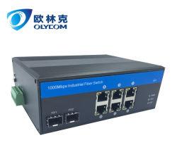 10/100/1000Mbps 2 Industriële Schakelaar Fiber+ 6RJ45 met externe de machtslevering van het Spoor van DIN